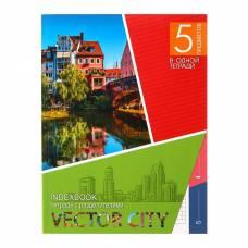 Колледж-тетрадь А5, 128 листов клетка «Город», интегральная обложка, 5 предметов, выборочный УФ-лак Апплика