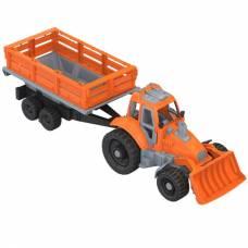 Игрушечный трактор с грейдером и прицепом Нордпласт