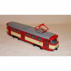 Инерционный трамвай Tatra T3SU (свет, звук), красно-бежевый, 1:54 Play Smart