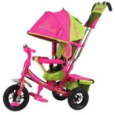Трехколесный велосипед Beauty с ручкой, розово-зеленый Beauty