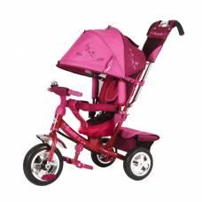 Трехколесный велосипед Beauty с ручкой, розово-красный Beauty
