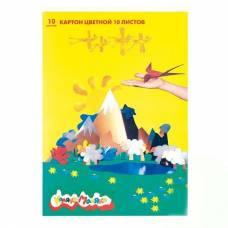 Цветной картон, А4, 10 листов Каляка-Маляка