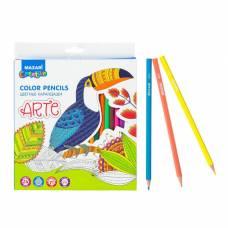 Карандаши 24 цвета MAZARi Arte, шестигранный корпус, d грифеля=2.6 мм, пластиковые MAZARi