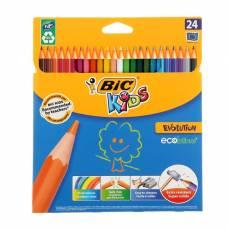 Карандаши 24 цвета BIC Kids Evolution ECOlutions, пластиковые CubicFun