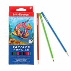 Карандаши 24 цвета Erich Krause, шестигранные, деревянные, грифель 3мм, европодвес Erich Krause