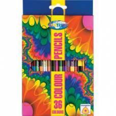 Карандаши цветные 36 цветов, двусторонние 18 штук, деревянные, длина 177 мм CENTRUM