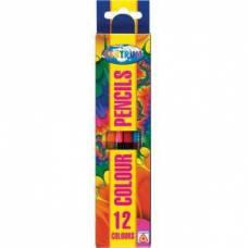 Карандаши цветные 12 цветов, двусторонние 6 штук, деревянные , длина 177 мм CENTRUM