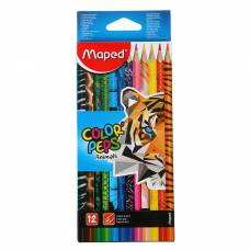 Карандаши 12 цветов Maped Color Peps Animals, трехгранные Maped
