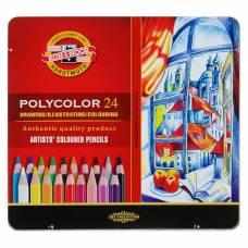 Карандаши художественные PolyColor 3824, 24 цвета, мягкие, в металлическом пенале Koh-i-Noor