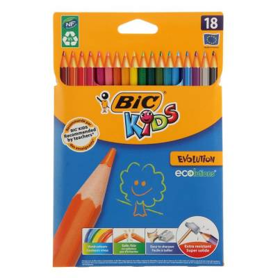 Карандаши 18 цветов BIC Kids Evolution ECOlutions, пластиковые CubicFun
