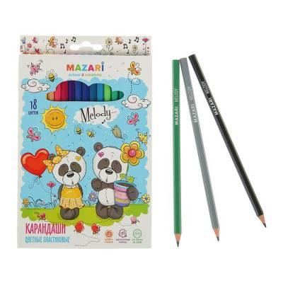 Карандаши 18 цветов Melody, пластиковые, шестигранный корпус, d грифеля=2.6 мм, европодвес MAZARi
