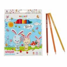 Карандаши 24 цвета Melody, пластиковые, шестигранный корпус, d грифеля=2.6 мм, европодвес MAZARi