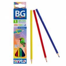 Карандаши пластиковые 6 цветов INFLY, трёхгранные, 2.7 мм, в картонной коробке с европодвесом BG