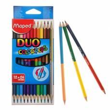 Карандаши двухцветные Maped Сolor Peps, трёхгранные, 24 цвета - 12 штук, европодвес Maped
