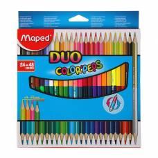 Карандаши трехгранные двухсторонние 48 цветов (24 штуки) Color Peps, европодвес Maped