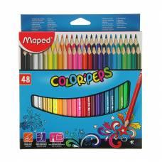 Набор цветных карандашей Color Pep's, трехгранные, 48 цветов Maped