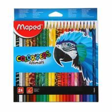 Карандаши 24 цвета Maped Color Peps Animals, трехгранные Maped