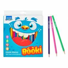 Карандаши 24 цвета MAZARi Booki, шестигранный корпус, d грифеля=2.6 мм, пластиковые MAZARi