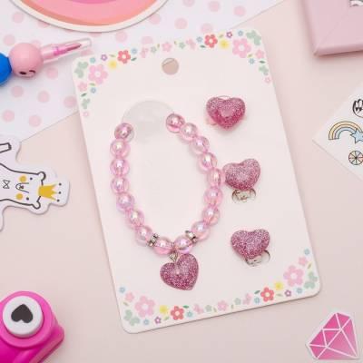 Набор детский 3 предмета: клипсы, браслет, кольцо, сердечки, цвет светло-розовый Sima-Land