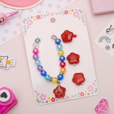 Набор детский 3 предмета: клипсы, браслет, кольцо, лютики, цветной Sima-Land