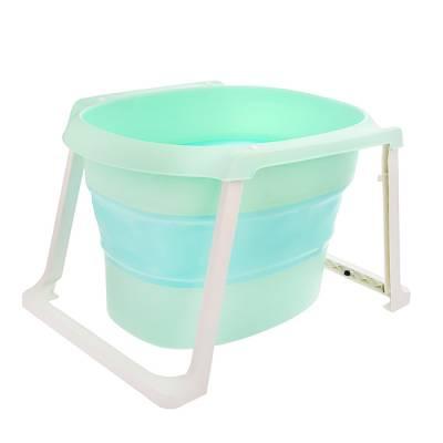 Ванночка детская складная, со сливом и термометром + ковш и стульчик для купания, цвет бирюзовый Sima-Land