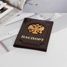 Обложка для паспорта «Герб», цвет коричневый Sima-Land