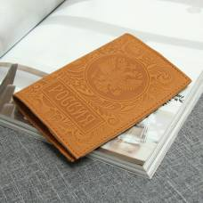 Обложка для паспорта «Герб», тиснение, цвет рыжий First Steps