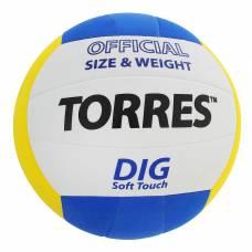 Мяч волейбольный Torres Dig, V20145, размер 5, клееный  TORRES