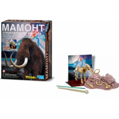Набор юного археолога KidzLabs - Откопай скелет мамонта 4M