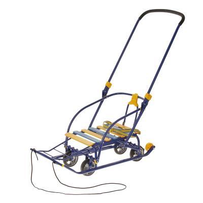 Санки Nikki 3 с механизмом выдвижных колесных шасси, синие Ника